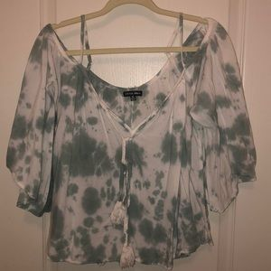 Green and white tie dye off the shoulder top.